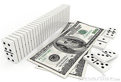 Domino in row and one hundred dollar bill