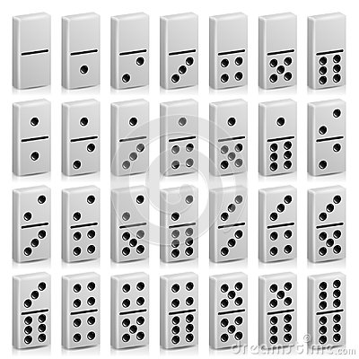 Free Domino Set Vector Realistic 3D Illustration. White Color. Full Classic Game Dominoes On White. Modern Stock Photo - 95614440