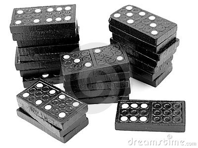 Domino stacks, black wooden tiles