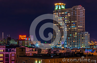 Domino Sugars Factory and HarborView Condominiums at night from Federal Hill, Baltimore, Maryland Editorial Photography