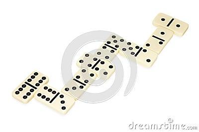Dominoes lying in snake shape