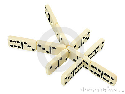 Dominoes in shape of yen currency symbol