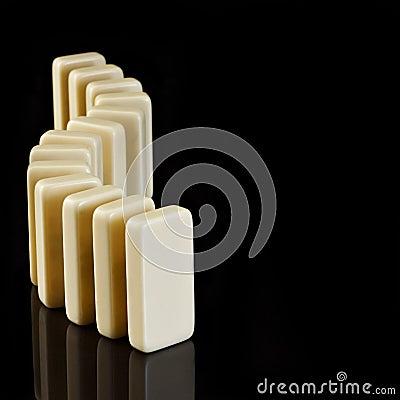 Dominos on a black