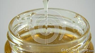 Dompel de houten lepel in de honing onder stock footage