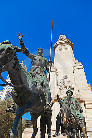 Don Quixote And Sancho Panza Statue - Madrid Spain Stock Image - Image