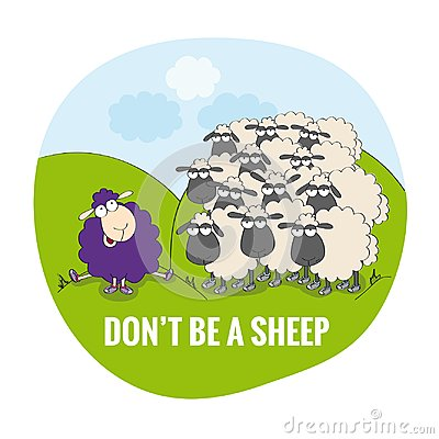 Free Don`t Be A Sheep. Be Unique. Happy Violet Sheep Sitting Outside Of The Flock. Stock Images - 111673434