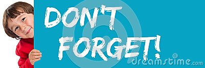Don`t forget date remind reminder child kid young little boy Stock Photo