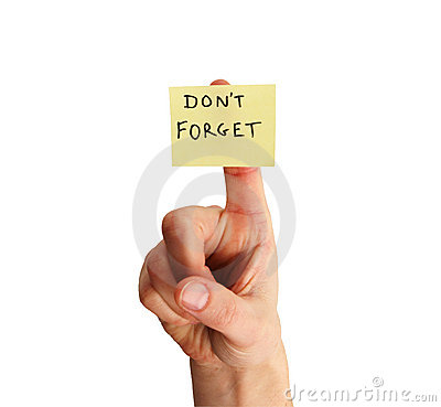 Don t forget note on finger