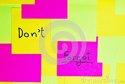 Don t forgot  colorful reminder note