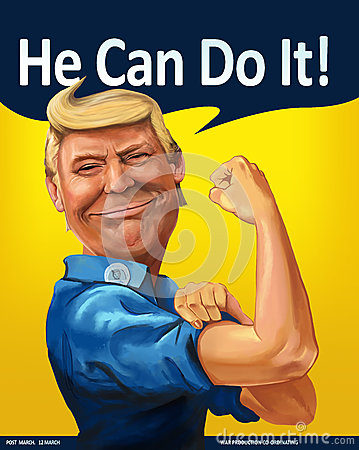 Donald Trump - We Can Do it! themed Cartoon Portrait Editorial Stock Photo