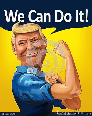 Donald Trump - We Can Do it! themed Cartoon Portrait Editorial Stock Photo