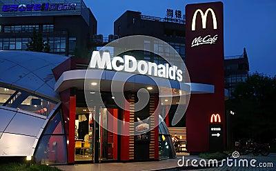 Donalds di Mc in Cina Fotografia Editoriale