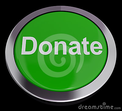 Donate Button In Green Showing Charity