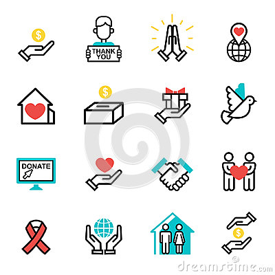 Donate money set outline icons help icon donation contribution charity philanthropy symbols humanity support vector Vector Illustration