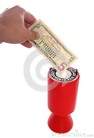Donating five dollars to charity