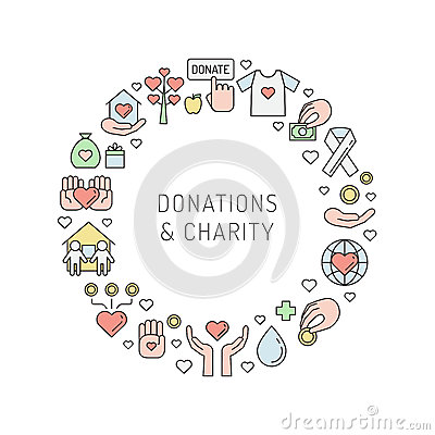 Free Donations And Charity Multicolored Outline Circle Frame. Royalty Free Stock Images - 74635279