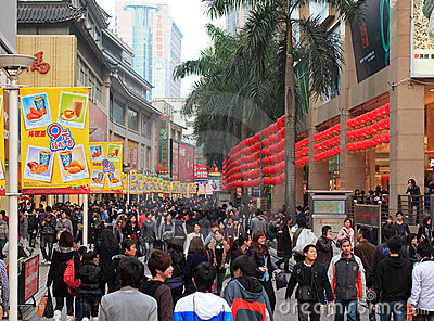 Dongmen Pedestrian Street in Shenzhen, China Editorial Stock Image