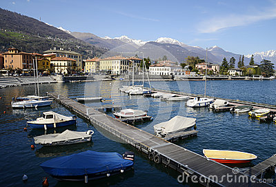 Dongo harbour and the lake, Como, Italy Editorial Photo