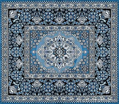 Donkerblauw Perzisch Tapijt Stock Foto Afbeelding 45509009