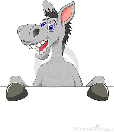 Free Donkey Cartoon With Blank Sign Royalty Free Stock Photos - 31362218