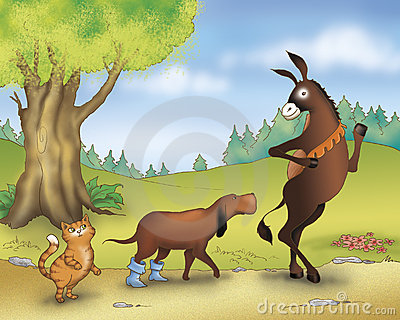 Donkey dog and cat - fairy tale