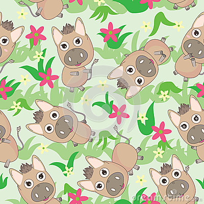 Donkey Flowers Grasses Seamless Pattern_eps