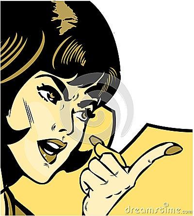 Donna arrabbiata che indica stile dei fumetti