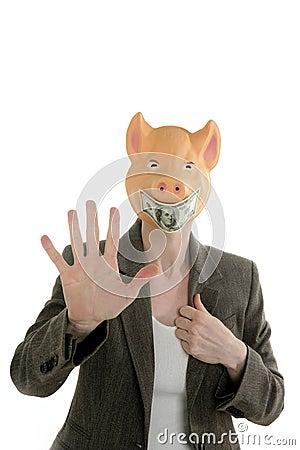 Donna con il fronte dei maiali, mascherina della nota del dollaro