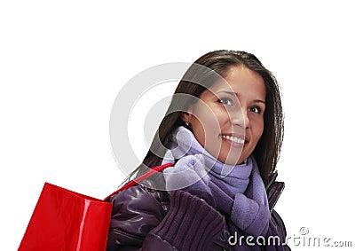 Donna con il sacchetto di acquisto
