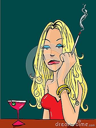 Donna del fumetto che fuma alla barra immagini stock for Disegni della barra del garage
