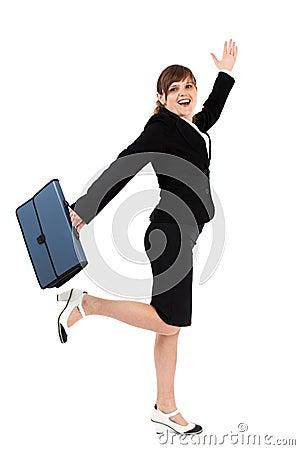 Donna di affari allegra