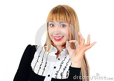 Donna di affari che mostra BENE