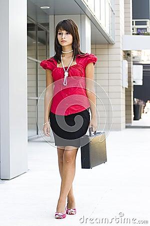 Donna di affari con la cartella