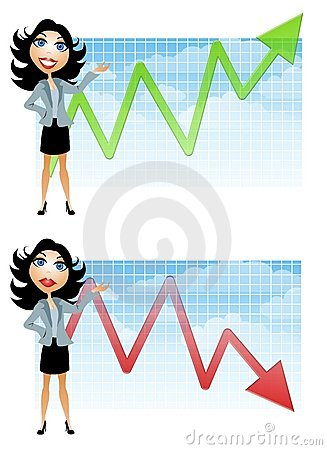 Donna di affari e diagrammi di vendite