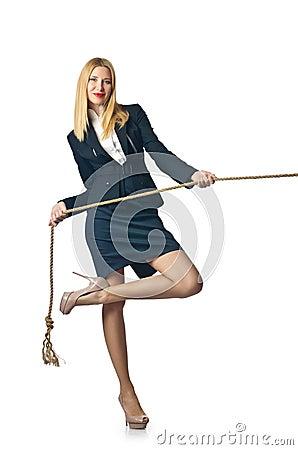 Donna di affari nel rimorchiatore