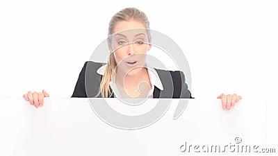 Donna di affari sorpresa And Blank Sign archivi video