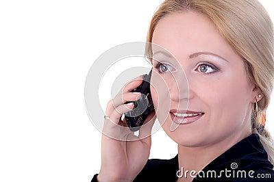 Donna di affari sul telefono