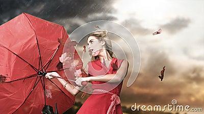 Donna di fascino che tiene un ombrello rotto nel cinemagraph video d archivio