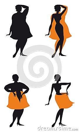 Donna stante da grasso da assottigliarsi