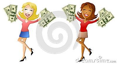 Donne felici che tengono i lotti di contanti