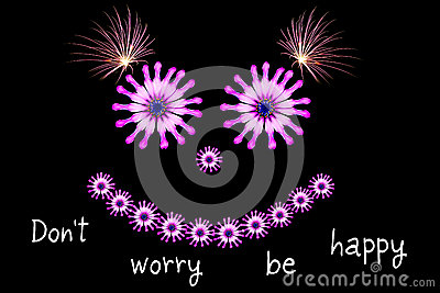 Dont worry be happy message concept