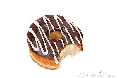 Donut with Bite Missing on White Background