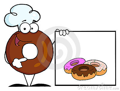 Donut chef presenting a blank sign with donuts