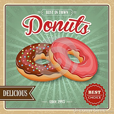Free Donut Retro Poster Royalty Free Stock Photos - 44203378