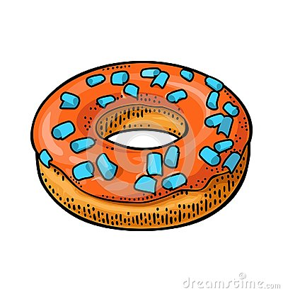 Free Donut With Icing And Sprinkles. Vector Color Engraving Stock Images - 123847794