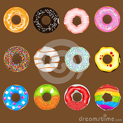 Free Donuts Collection Set Royalty Free Stock Photography - 36905287