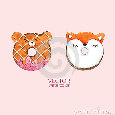 Free Donuts Cute. Vector Watercolor, Hand Drawn For Greeting Card, Packaging , Bakery Shop And More Stock Images - 118460924