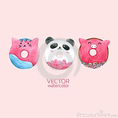 Free Donuts Cute. Vector Watercolor, Hand Drawn For Greeting Card, Packaging , Bakery Shop And More Royalty Free Stock Photo - 118460925