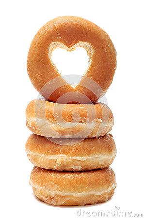 Donuts with a heart shaped hole