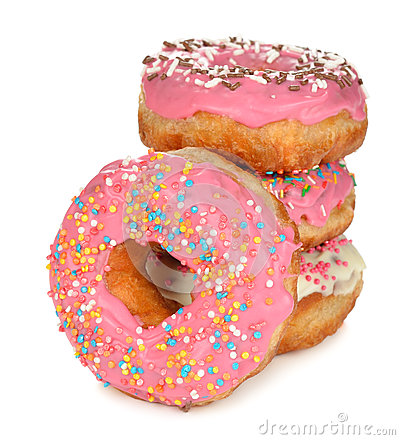 Free Donuts With Pink Icing Stock Photo - 37596050